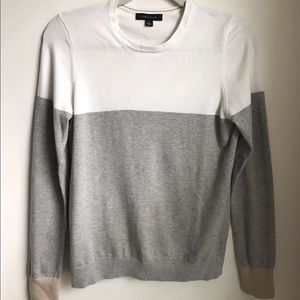 Ann Taylor colorblock grey and white sweater med